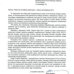 """Odpowiedź KW """"Olsztyn Nasz Dom"""""""