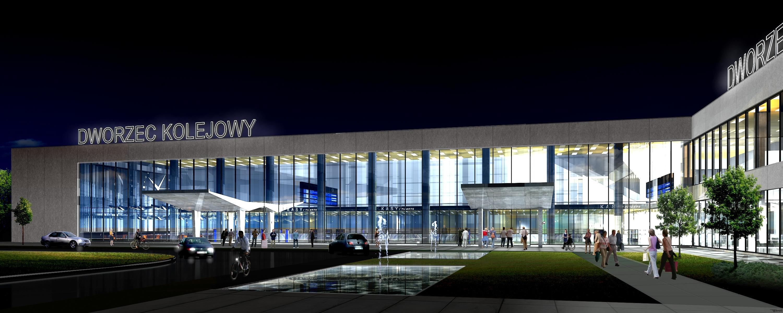 Dworzec Główny po remoncie nocą - wizualizacja Forum Rozwoju Olsztyna