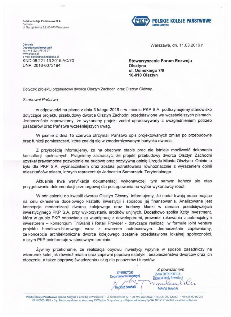 Odpowiedź na apel FRO w sprawie olsztyńskich dworców