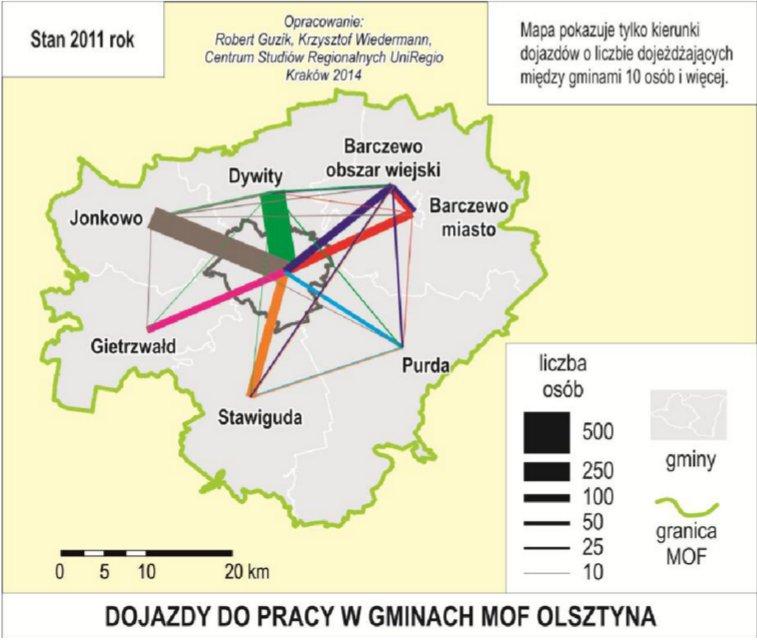 """Źródło: """"Dostępność, relacje i powiązania przestrzenne w Miejskim Obszarze Funkcjonalnym Olsztyna"""""""